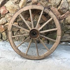 Roda De Carreta Antiga Madeira Galpão Carroça