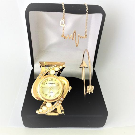 Relógio Feminino Dourado Barato Kit Pulseira, Colar Presente