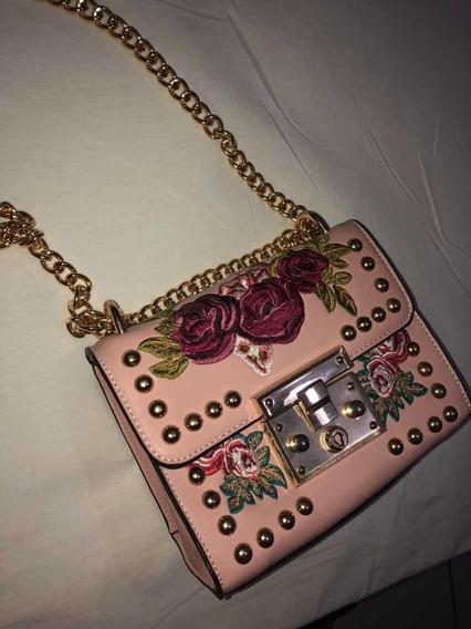 Bolsa Rosa Com Bordados
