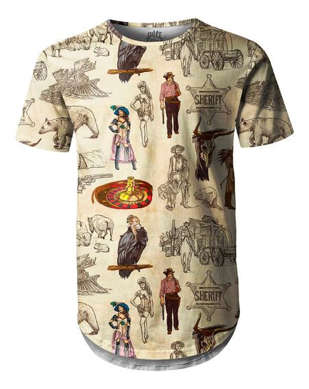 Camiseta Masculina Longline Oversized Velho Oeste