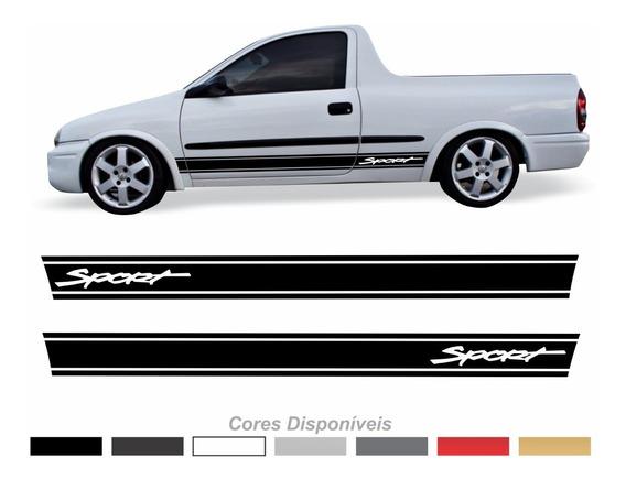 Faixa Lateral Corsa Chevrolet Picape Pick Up Sport Adesivo Par Imp120 Dx