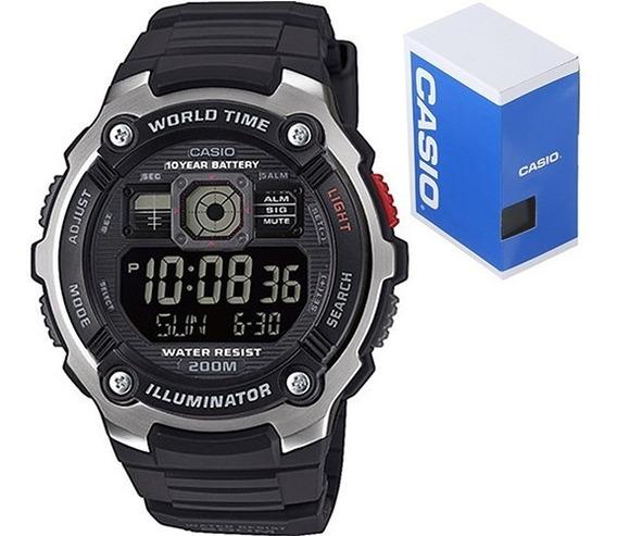 Reloj Casio Caballero Ae2000 Display Negativo Caucho Cristal Mineral Sumergible Original