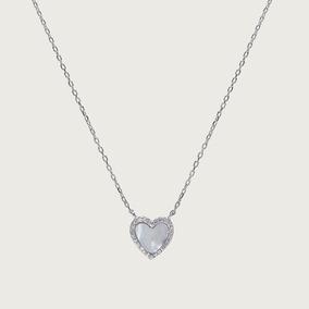 Gargantilha Coração Em Prata Com Madrepérola E Zircônias