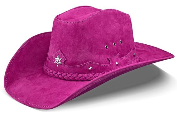 Chapeu Country Feminino Couro Legítimo Nobre Rodeio Cowgirl