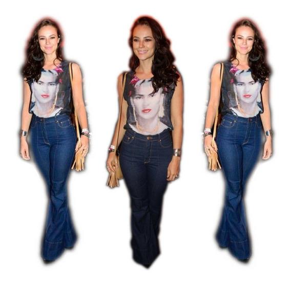 Calça Jeans Feminina Flare Skinny C Lycra Hot Pants Panicat