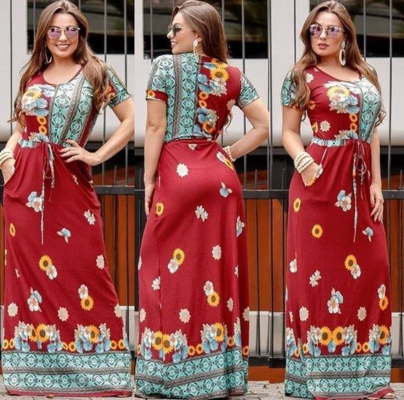 Vestido Longo Casual Manga Curta Tendencia Viscolycra Floral