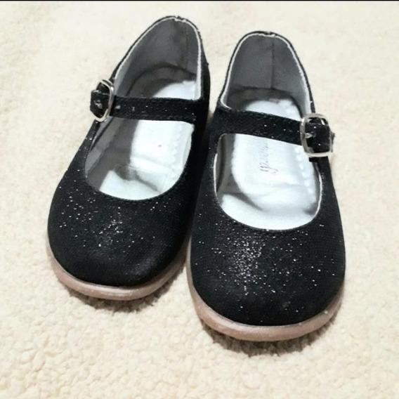 Zapatos De Niña Negro Brillante Marca Lombardi Talla N°20
