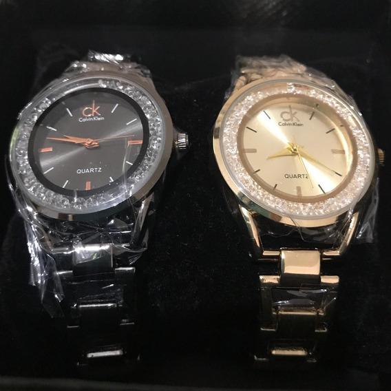 Kit De 2 Relógios Feminino Estiloso, Brilhante E Barato