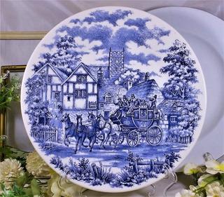 Hermoso Plato Azul Escena De Correos Diseño Ingles 20 Cm