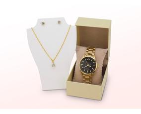 Kit Relógio Feminino Dourado Original + Colar/brinco + Caixa
