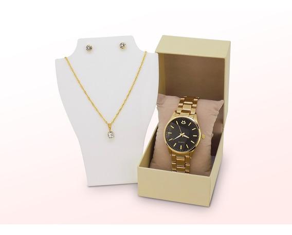 Kit Relógio Feminino Dourado Original + Colar/brinco + Caix