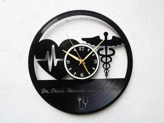 Reloj Disco Vinilo Vinil Acetato Lp Doctor Médico Tu Nombre