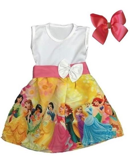Vestido Infantil De Festa Temático Princesas + Laço Brinde
