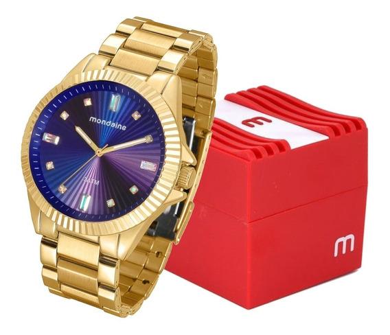 Relógio Mondaine Feminino Dourado Luxo Analógico Original Mulher Com Caixa Garantia E Nota Fiscal 76613lpmvde3