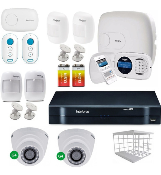 Kit Alarme Central Amt 2018e Com Dvr 1004 4 Canais Intelbras