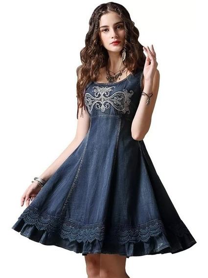 Vestido De Mezclilla Vintage Elegante, Con Olanes Para Dama