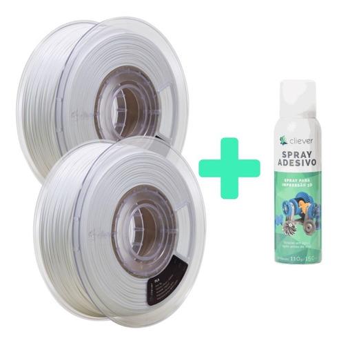 Imagem 1 de 6 de Kit Filamento Pla Cliever - 2x Branco + Spray Fixação