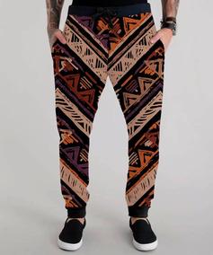 Calça Moletom Colorido Estampa África Africana Swag Tumblr