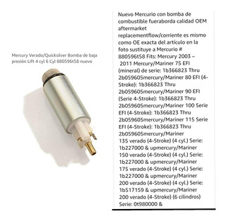 Bomba De Gasolina De Baja Para Motores Mercury De 135 A 225