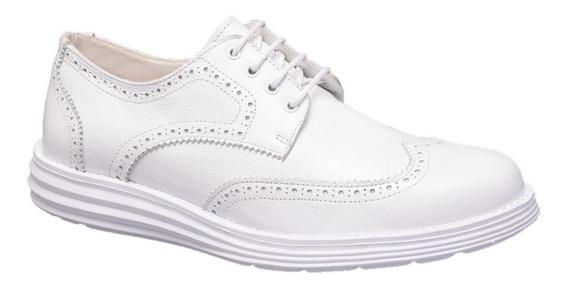 Sapato Branco Couro Legítimo Médicos Dentistas Enfermeiros