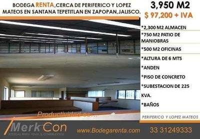 Bodega Renta 3,950 M2, Santana Tepetitlan Jal.