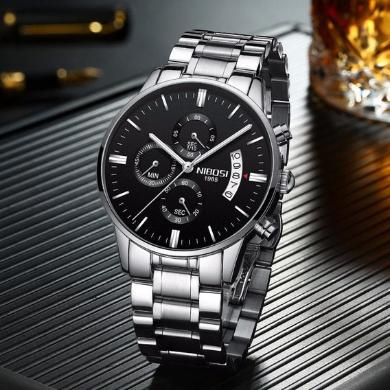 Relógio Nibosi Original Cronom/cronógrafo Aço Inox + Caixa