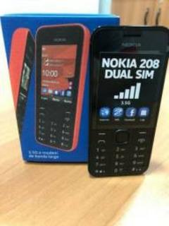 Celular Nokia 208 Preto C/dual Chip, 3g Novo - Caixa Lacrada