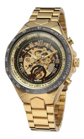 Relógios Masculino Importado Luxo Skeleton Mecanico Winner