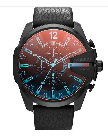 Relógio Diesel De Couro Vidro Espelhado Dz4323 Tam Grande