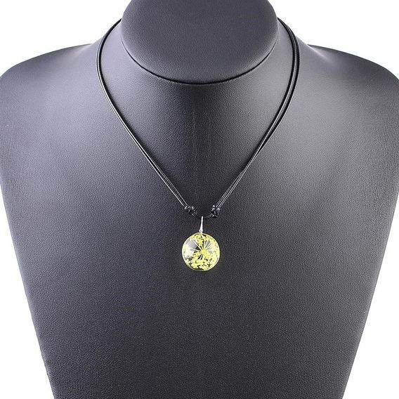 Hermoso Collar Dije Flor Cristal Soga Sintética Dama Esfera
