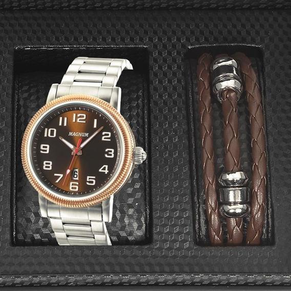 Relógio Magnum Masculino Prata Kit Pulseira Couro Ma21946c