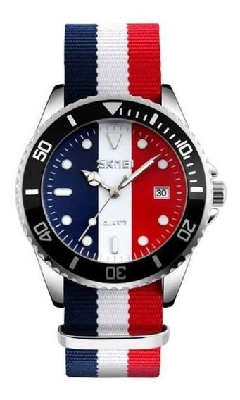Relógio Skmei Analógico 9133 Azul Branco E Vermelho
