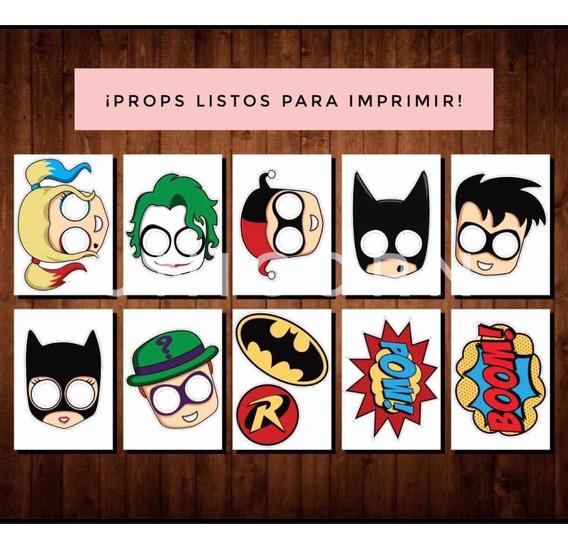Kit Imprimible - Props Máscaras Batman Harley Quinn Fiesta