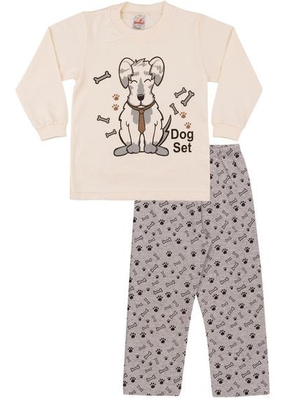Pijama Bebê Menino Meia Malha Longo Inverno Estampa Cachorro