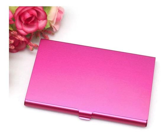 Porta Tarjetas Tarjetero Aluminio Billetera Credencial Color