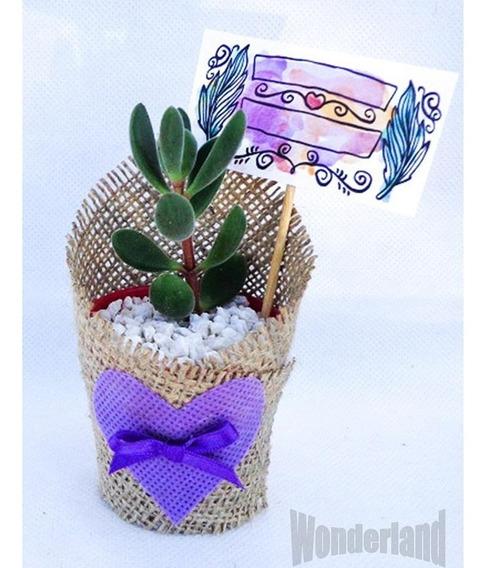20 Souvenir Cactus Y Suculentas Con Tela Arpillera,tarjetita