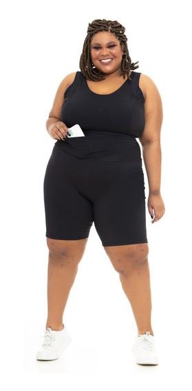 Bermuda Plus Size Emana® Plus Cós Transpassado Preta