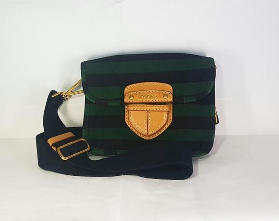 Prada Green X Black Pattina Canapa Righe Bag
