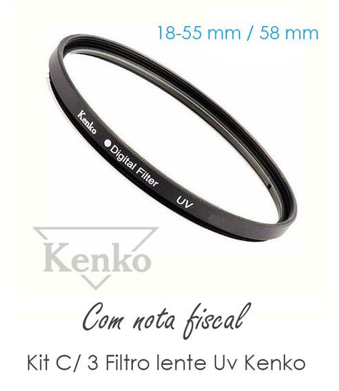 T6i - Kit C/ 3 Filtro Lente 58mm Uv Kenko 18-55mm Para Canon