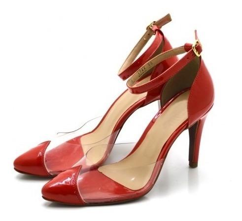 Sapato Scarpin Social Salto Fino Transparente Moda Verão