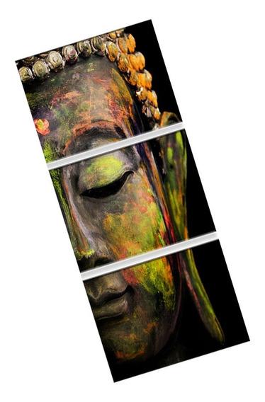 Pintura A Óleo Cabeça Buda 3 Painéis Grande Na Lona Para