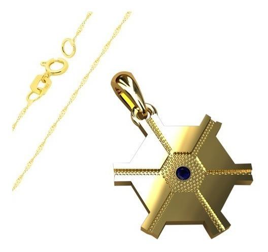 Pingente De Formatura De Agronomia E Corrente Em Ouro 18k