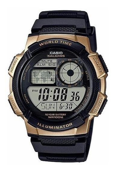 Relogio Casio Ae-1000w-1a3vdf Borracha Lançamento Dourado