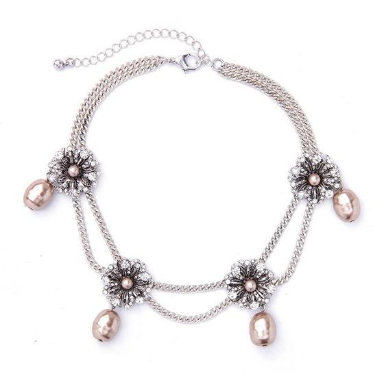 Collar Choker Moda Mujer Bisuteria Fina Metalico Perlas