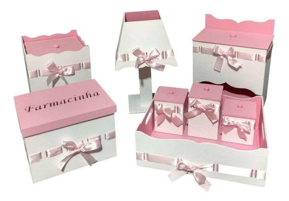 Kit Higiene De Bebê Rosa E Branco Mdf Menina