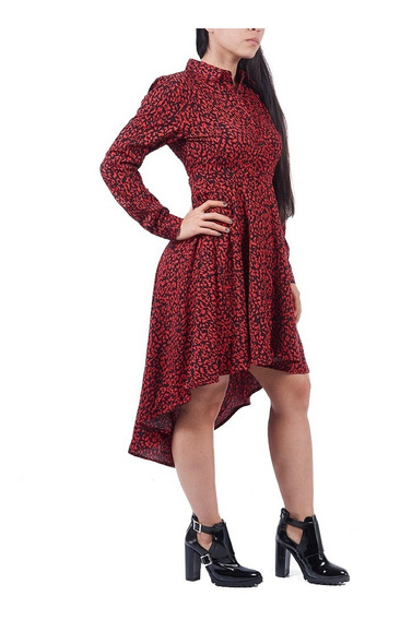 Vestido Semi Largo Dama Mujer Diseño Asimétrico Rojo Animal