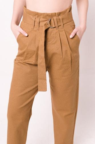 Pantalon Recto Con Lazo De Gabardina Mujer Tiro Alto Mercado Libre