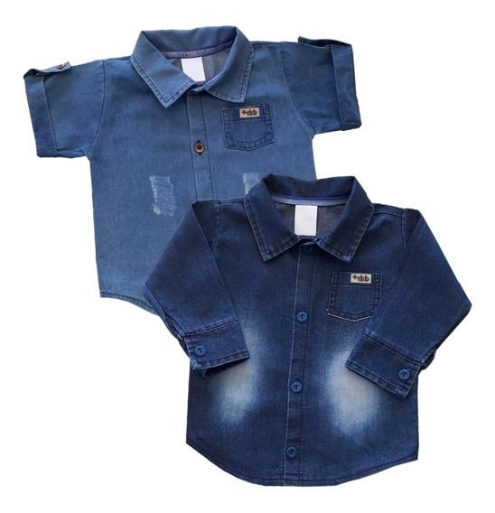Camisa Jeans Infantil Menino Bebê 1/2/3 Anos