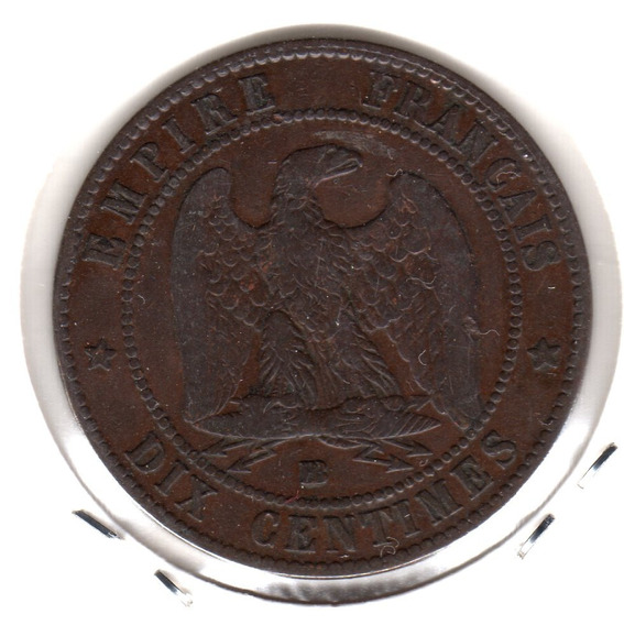 Moneda Francia 10 Centimes Año 1854 Bb Km#771.3 Hermosa