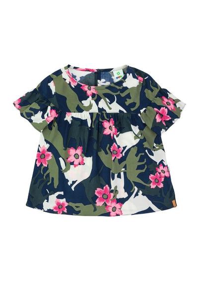 Blusa Infantil Menina Em Viscose Estampada Puc - 324u2pw